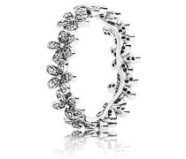 Damen-Ring Glanzvolles Gänseblümchen-Band 925 Silber Zirkonia weiß