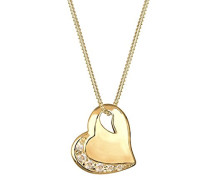 Damen-Halskette mit Herz-Anhänger Silber vergoldet Länge 45 cm 0106661212_45