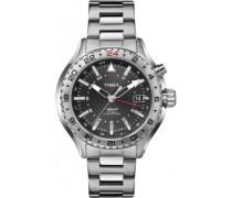 Timex-T2P424-Intelligent Quartz-Armbanduhr-Quarz Analog-Zifferblatt schwarz Armband Stahl Grau