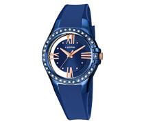 Damen Quarzuhr mit Blau Zifferblatt Analog Display und Blau Kunststoff Gurt k5680/6