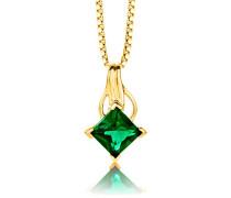 Damen-Kette Mit Anhänger 925 Sterling- Silber Prinzess Grün Synthetischer Smaragd 45cm