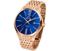 TW Steel Herren-Quarzuhr mit Blau Zifferblatt Analog-Anzeige und Rose Gold Edelstahl Rose vergoldet Armband TW1309