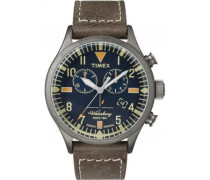 Herren-Armbanduhr Chronograph Quarz Leder TW2P84100