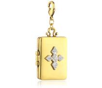 Jewelry Damen-Anhänger Messing Kristall Mega Charm Versilbert und  Vergoldet 6.0 cm weiß 411342006