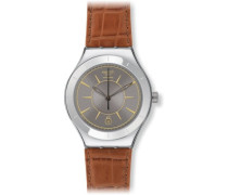 Swatch Herren Armbanduhren Grey Sky Analog Automatik Leder YAS406