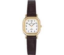 –646519Damen-Armbanduhr–Quarz Analog–Weißes Ziffernblatt–Armband Leder Schwarz