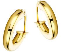 Damen-Creolen 9 Karat / Klassische Ohrringe aus 375 Gelbgold mit purem Glanz / Ohrschmuck 14mm x 3mm, Gold