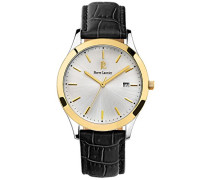 231G023–Elegance Classic–Armbanduhr–Quarz Analog–Zifferblatt Silber–Armband Leder Schwarz