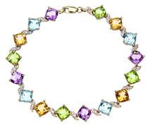 Damen-Armband Diamant und Multi Edelstein 375 Gelbgold 9 K Amethyst Quadratschliff Topas Citrin lila 1,85 cm PBC02591Y Multi