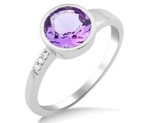 Damen-Ring 14 Karat (585) Weißgold rhodiniert Amethyst violett