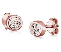 Damen-Ohrringe Klassisch Geo Basic rosé silber 925 Swarovski Kristall braun 0301930516