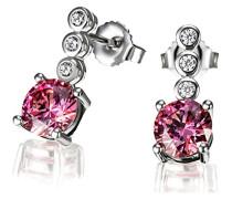 Damen-Ohrstecker 925 Silber rhodiniert pink Brillantschliff Zirkonia 1.6 cm - Fa O7630SR Ohrringe Schmuck