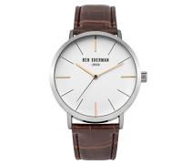 Ben Sherman Herren Quarz-Uhr mit weißem Zifferblatt Analog-Anzeige und schwarz Lederband wb054br