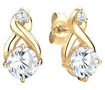 Damen-Ohrstecker Kristall Ohrstecker Infinity Unendlichkeit 925 Silber Zirkonia Brillantschliff weiß - 0312751914
