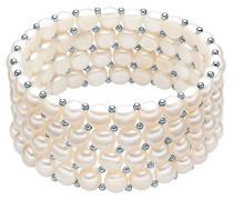Classic Collection Damen-Armband elastisch Hochwertige Süßwasser-Zuchtperlen in ca.  6 mm Button weiß 925 Sterling Silber    19 cm   60201668