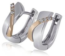 Damen-Creolen Weiß u. Rotgold 585 6 Diamanten SI/H 0,05 Karat Ohrringe