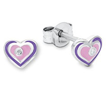 Prinzessin Lillifee Kinder-Ohrstecker Herzen Mädchen 925 Silber rhodiniert Emaille rosa lila Zirkonia weiß 7 mm