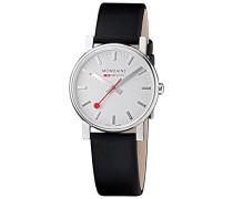 Mondaine Damen-Armbanduhr EVO SILVER BLACK STRAP Analog Quarz Leder A658.30300.18SBB
