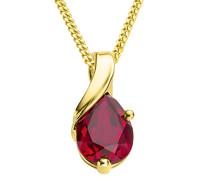 Damen-Halskette mit Anhänger / Grazile Kette aus 9 kt. Gelbgold mit Geburtsstein Rubin in Rot / Halsschmuck 45 cm lang, Gold