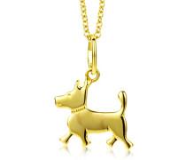 Miore Kinder-Halskette mit Anhänger Hund  375 Gelbgold 40cm MK908P