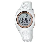 Unisex Armbanduhr Digitaluhr mit LCD Zifferblatt Digital Display und weißem Kunststoff Gurt k5668/1