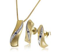 Damen-Set Halskette + Ohrringe Gelbgold mit Saphir