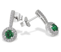 Damen-Ohrstecker 925 Sterlingsilber 2 Smaragdgrüne 48 weiße Zirkonia Ohrringe Schmuck
