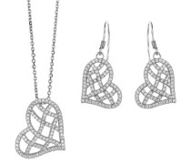 Damen-Set: Halskette + Ohrringe 925 Sterling Silber Zirkonia wei SET-5221