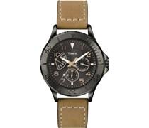 Timex Herren-Armbanduhr Quarz Leder braun schwarzes Zifferblatt T2P0404AU