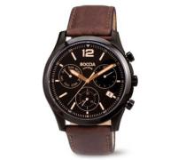 Herren-Armbanduhr Chronograph Quarz Leder 3757-02
