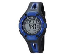 Unisex Armbanduhr Digitaluhr mit LCD Zifferblatt Digital Display und schwarz Kunststoff Gurt k5666/5