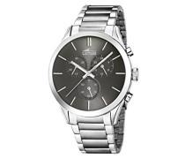 Lotus Herren Armbanduhr Quarz mit grau Zifferblatt Chronograph-Anzeige und Silber Edelstahl Armband 18114/2