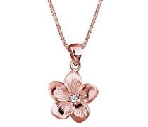 Premium Damen-Kette mit Anhänger Blume Frangipani Blüte 925 Silber Diamant (0.03 ct) weiß Brillantschliff 45 cm - 0105991117_45