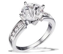 Damen-Ring Milleniumschliff 925 Silber rhodiniert Zirkonia weiß Brillantschliff