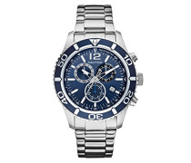 Nautica Herren-Armbanduhr XL Analog Quarz Edelstahl A16665G