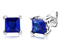 Damen-Ohrstecker 925 Sterling- Silber Prinzess Blau Saphir