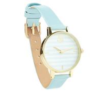 New Look 3715738 Nao Stripe Damen-Quarzarmbanduhr mit mehrfarbigem analogem Zifferblatt und blauem Lederimitat-Armband