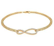 - Armband Infinity Unendlichkeit 925 Sterling Silber vergoldet Swaorvski Kristall 18 cm 0212341514-18