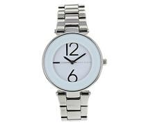 Damen Armbanduhr / Chronograph, Quarzuhr, weißes Zifferblatt, analoges Display, silberfarbenes Edelstahl-Armband, AK/N1075WTSV