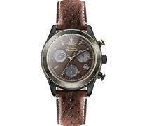 Sotheby Herren-Uhr mit braunem Zifferblatt und braunem Lederarmband, Chronograph-Anzeige, Quarzuhrwerk, vv142brbr