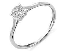 Damen Solitär-Ring Weißgold 9 kt Diamant 0,16 Karat-MY042R6 T56