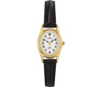 –646541Damen-Armbanduhr–Quarz Analog–Weißes Ziffernblatt–Armband Leder Schwarz