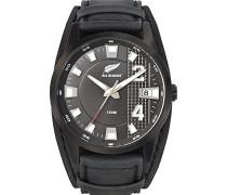 –680211–Armbanduhr–Quarz Analog–Zifferblatt schwarz Armband Leder schwarz