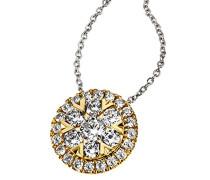 Damen-Kette mit Anhänger 585 Gelbgold Diamant (0.49 ct) weiß Brillantschliff 45 cm-Pa C7694GG