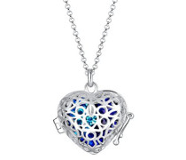 Damen Echtschmuck Halskette Silberkette Kette mit Anhänger Herz Swarovski Kristalle Sterling Silber 925