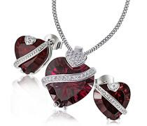 Damen-Schmuckset Herz Rot Halskette + Ohrringe 925 Sterlingsilber granatfarbener Zirkonia in Herzform