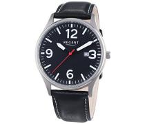 Regent Herren-Armbanduhr XL Analog Quarz Leder 11190166