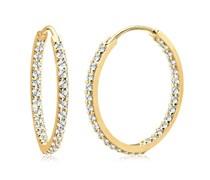 Goldhimmel Damen-Creolen 925 Sterling Silber mit Kristallen von Swarovski vergoldet 0303910612