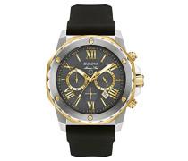 Marine Star 98B277 - Herren Designer-Armbanduhr - Chronograph mit Gummiarmband - wasserdicht - goldfarbene Akzente