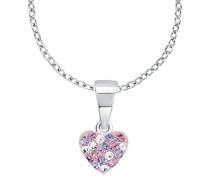 Kinder-Kette mit Anhänger Herz 925 Silber rhodiniert Kristall mehrfarbig 38 cm - 2013171
